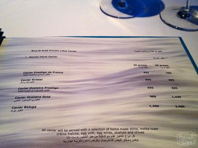 Dinner inside the Burj Al Arab... Not quite backpacker prices!