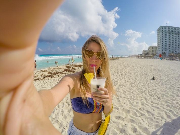 Selfie on the beach in Cancun