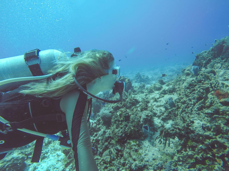 Blonde Scuba Diving