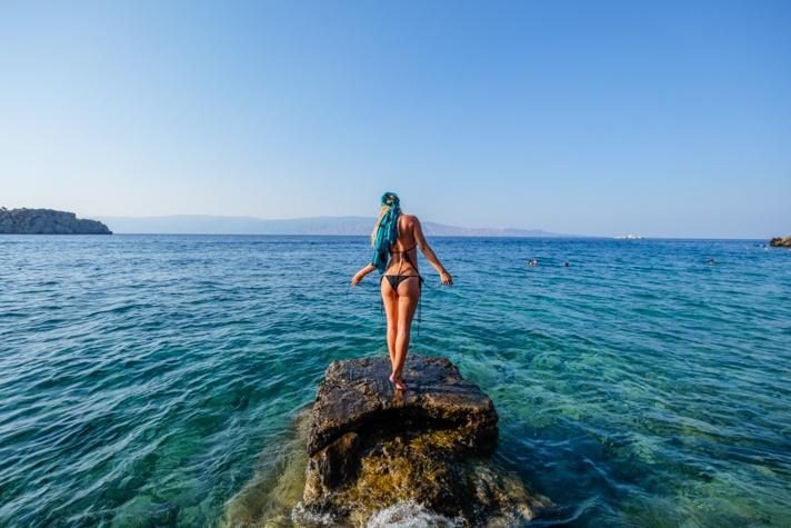 Girl in bikini in Greece