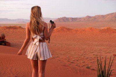 Blonde traveler in Namibia