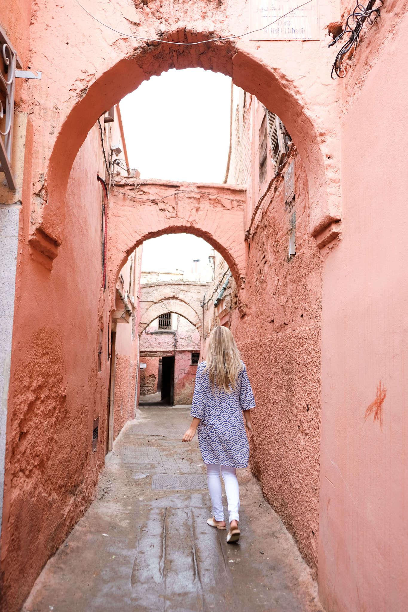 blonde walking in morocco