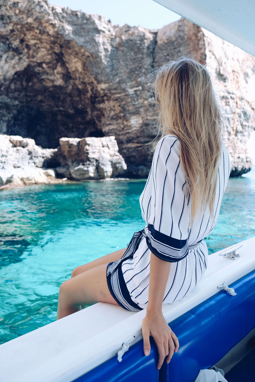 blonde in blue lagoon