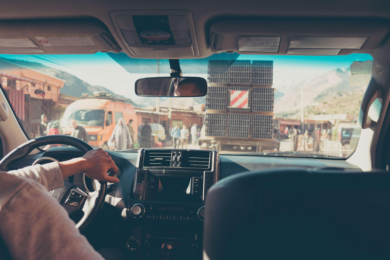 in the car in morocco