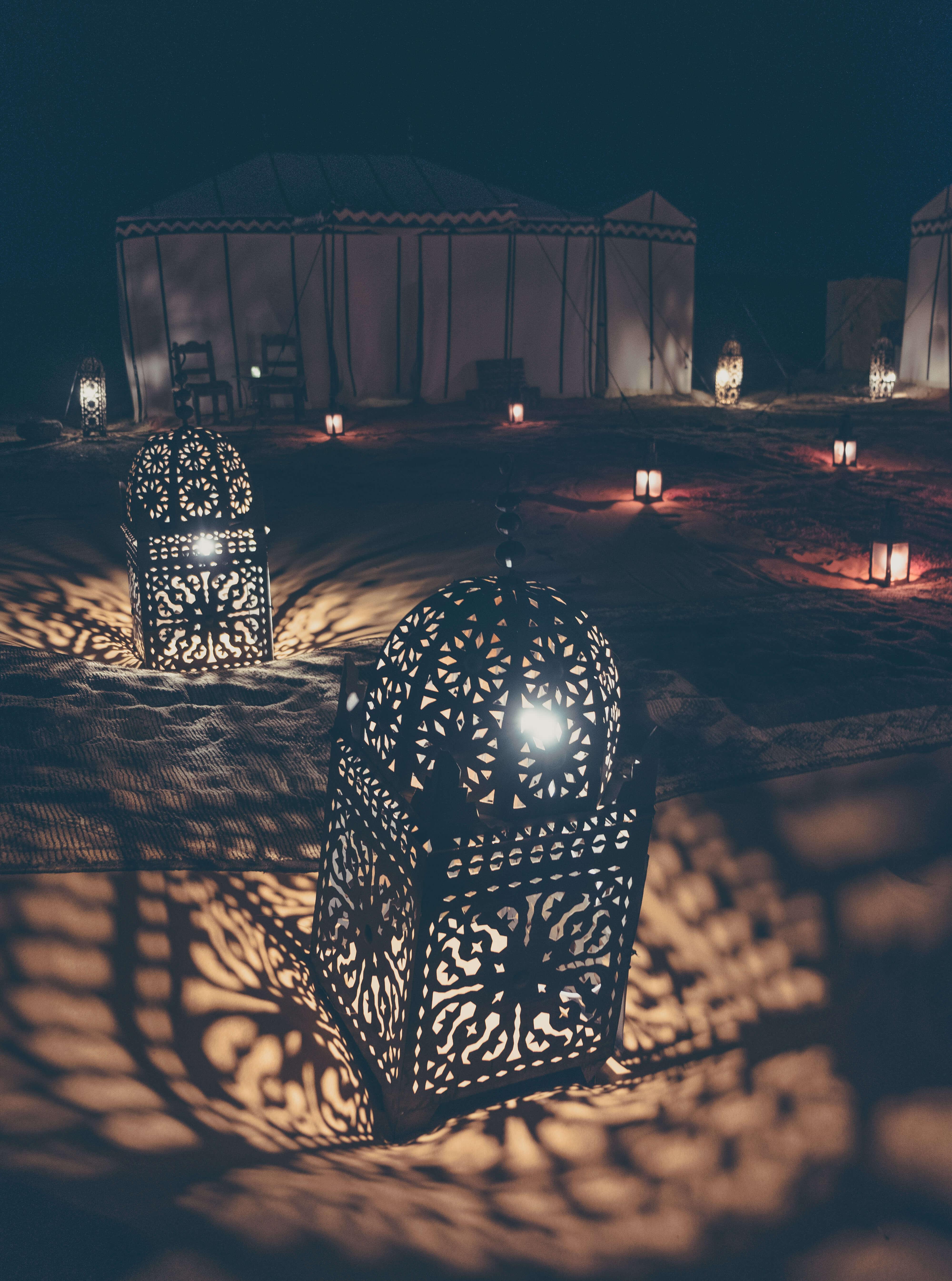 night details at luxury desert camp