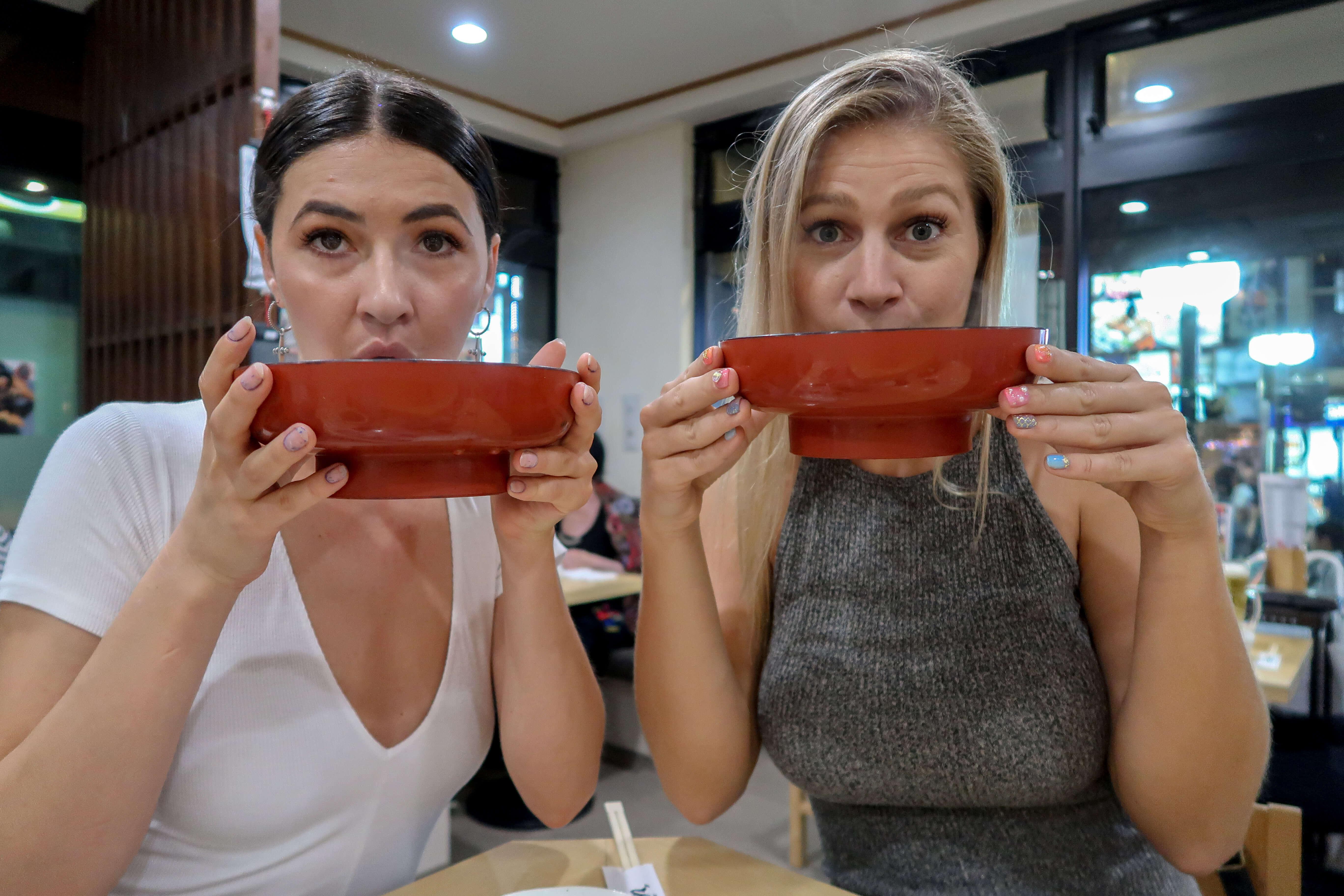 drinking ramen in japan