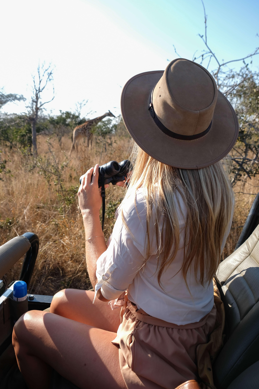 blonde on safari in kruger national park