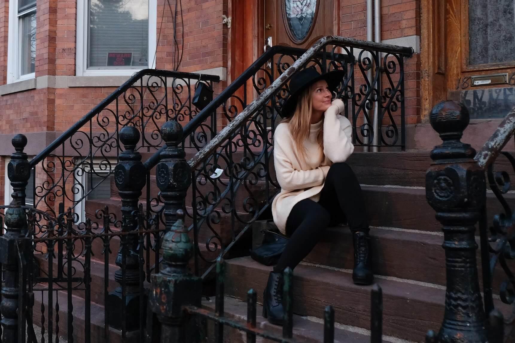 Sitting on Steps in Brooklyn