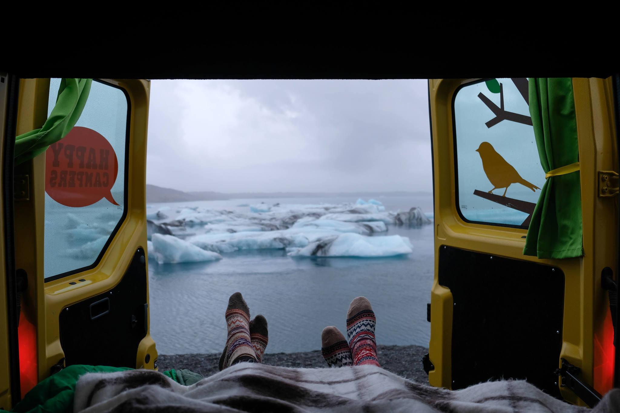 Camping at Jökulsárlón Glacier Lagoon