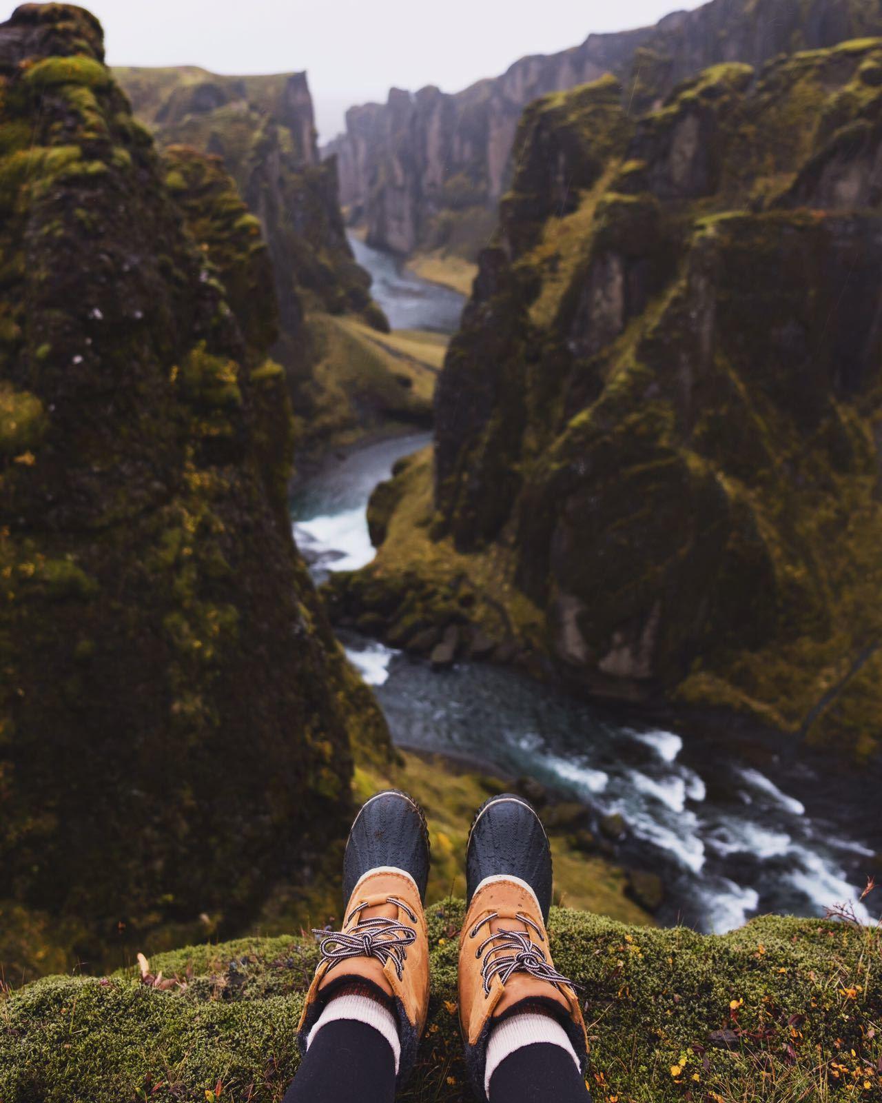 Sorel boots over Fjaðrárgljúfur