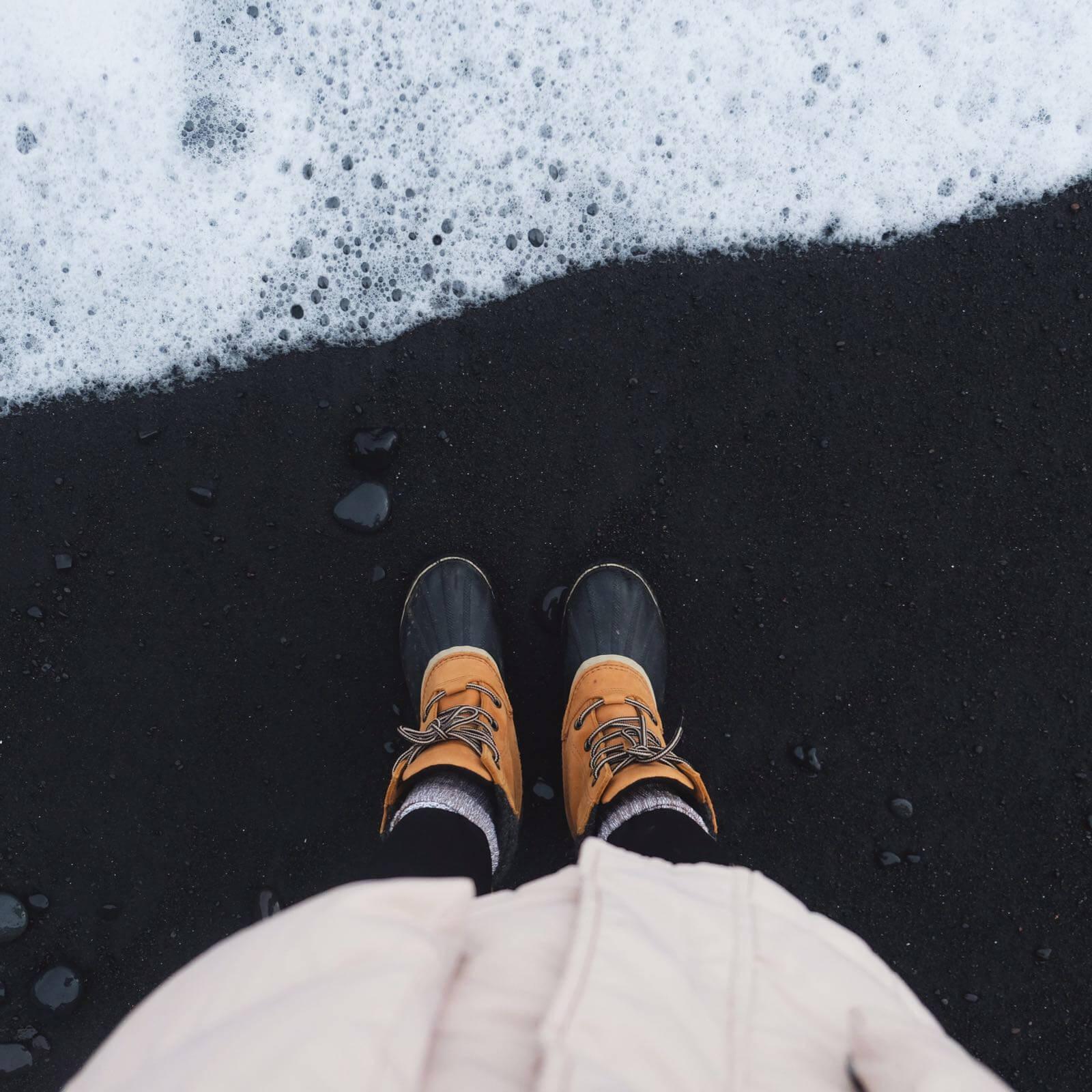 SOREL Boots on Black Sand Beach