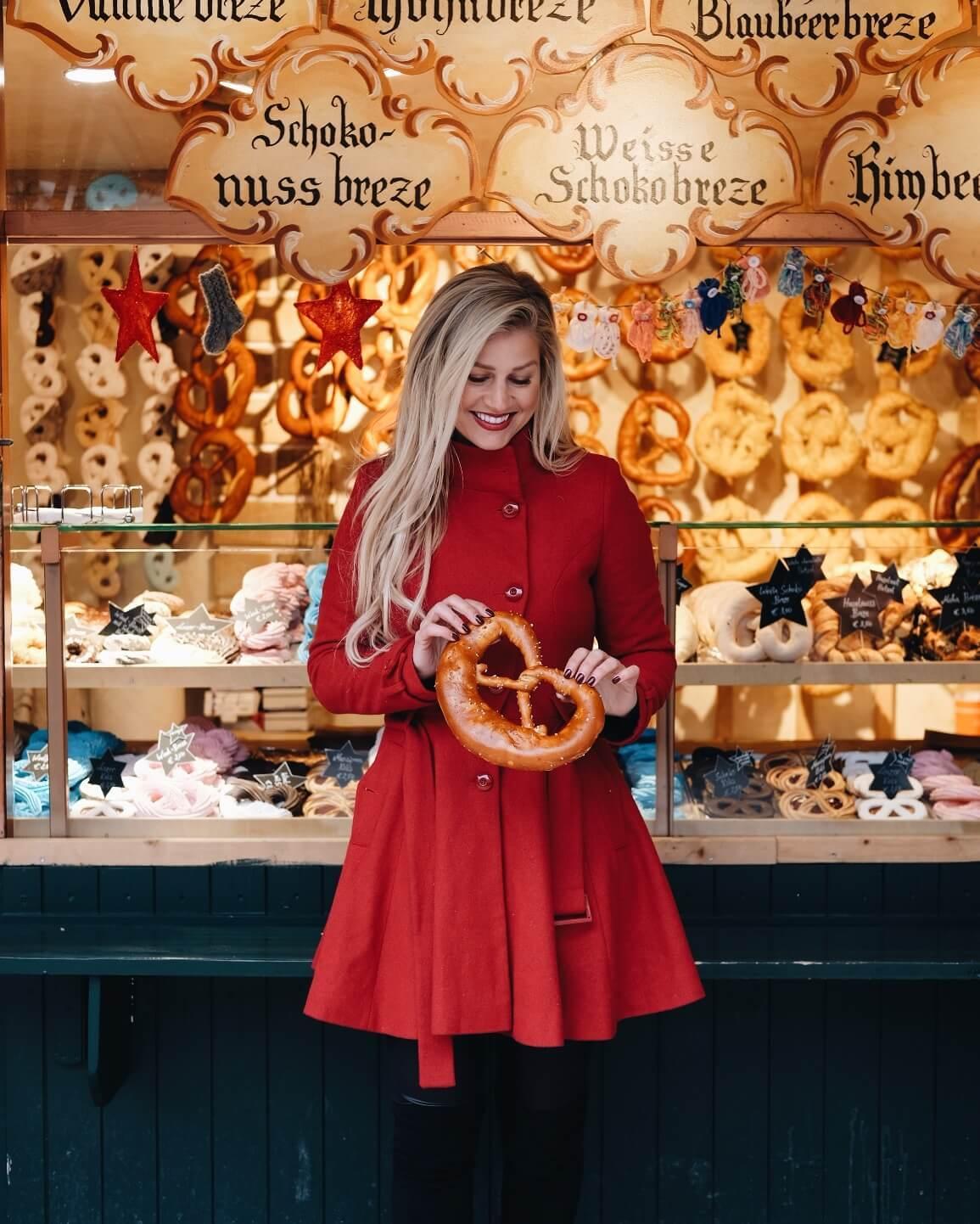 Blonde at christmas market in Salzburg