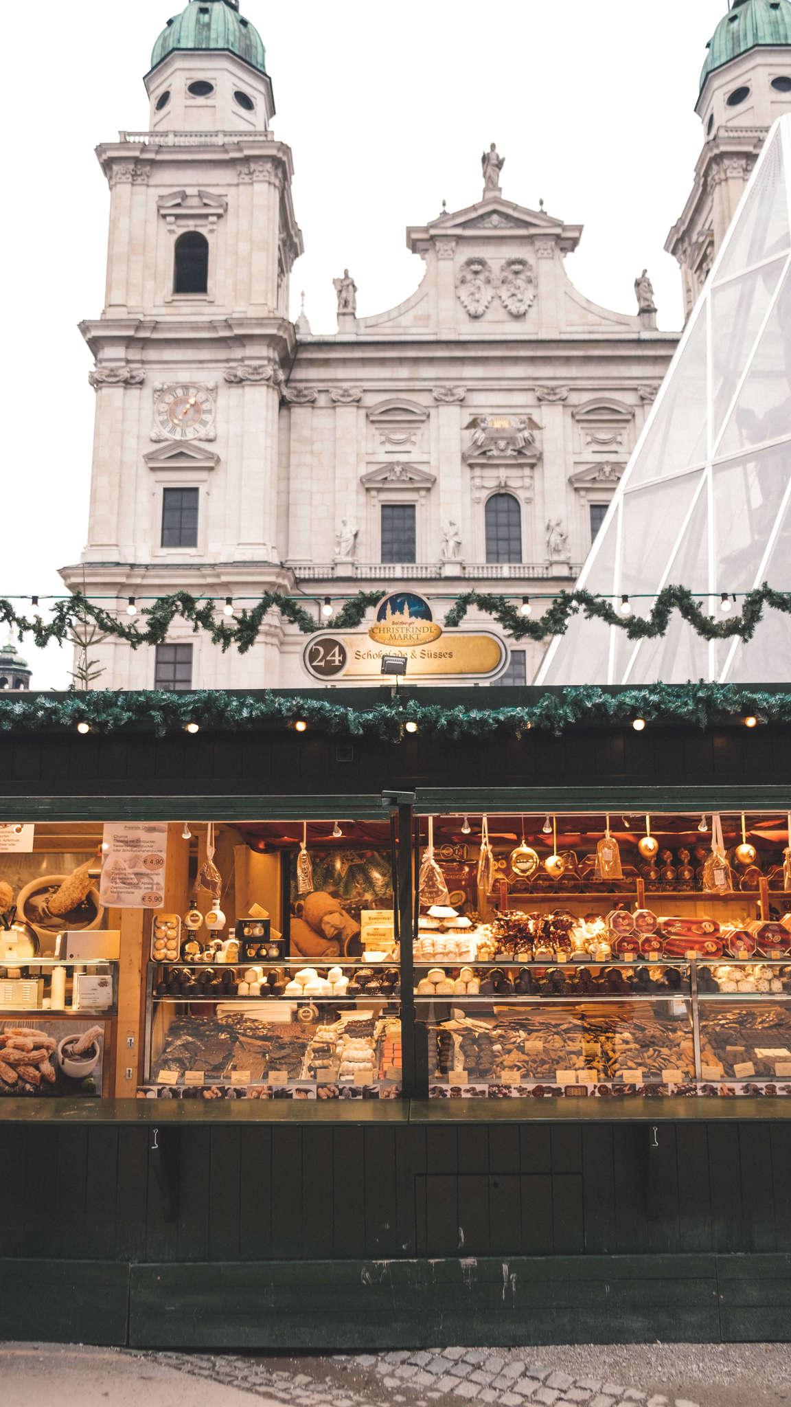 christmas market booths in salzburg