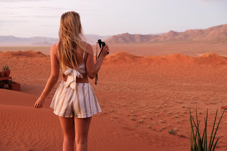 blonde girl namibia safari