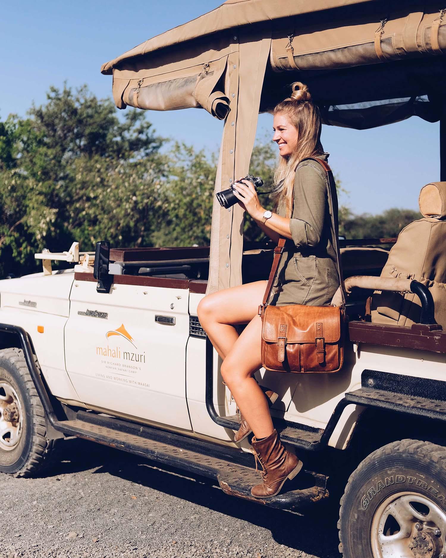 blonde girl safari africa