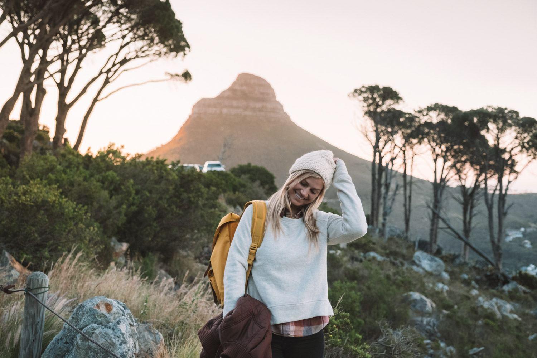blonde girl hiking near Lion's Head