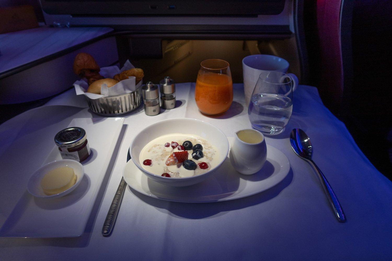 Qatar Airways Q Suites Business Class Breakfast