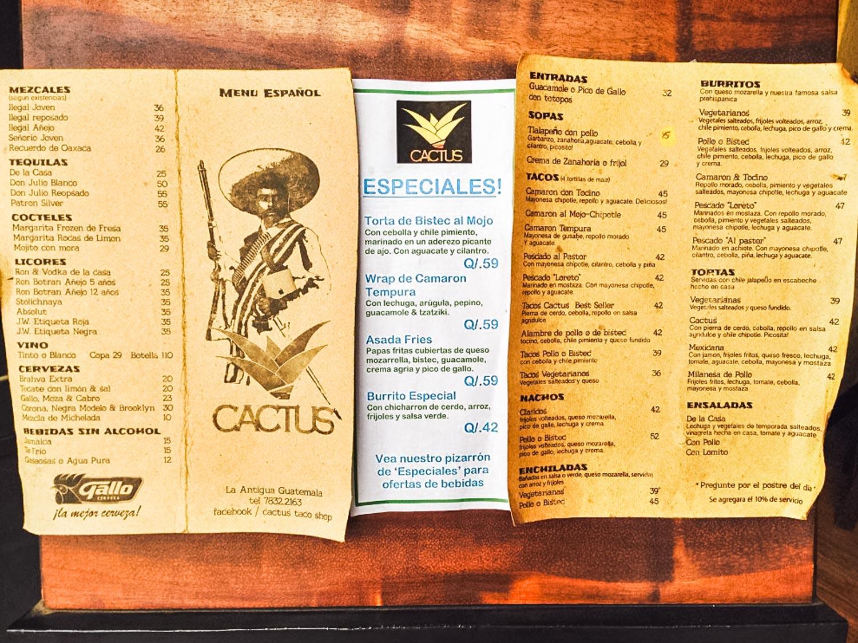 Cactus Taco Shop menu