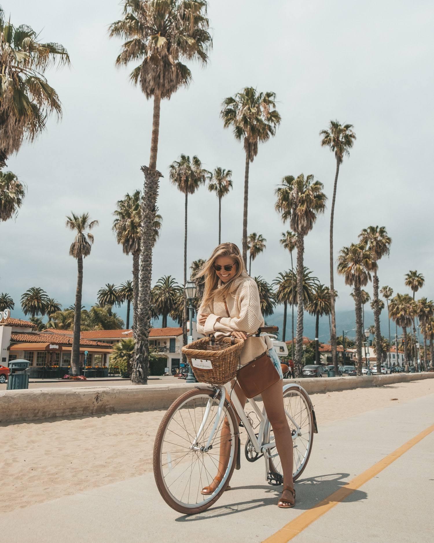Southern California Bike Blonde Girl Palm Trees
