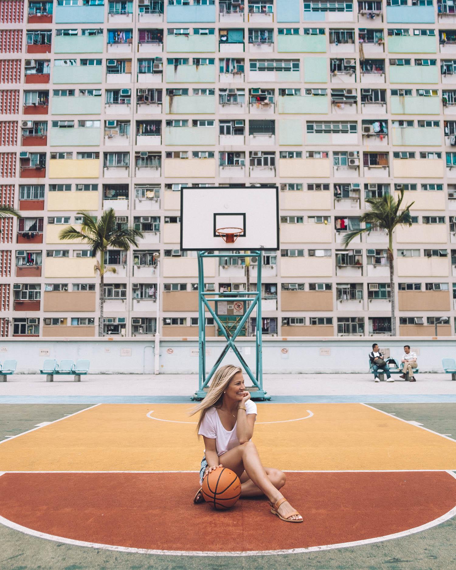 choi hung estate colorful basketball court hong kong girl