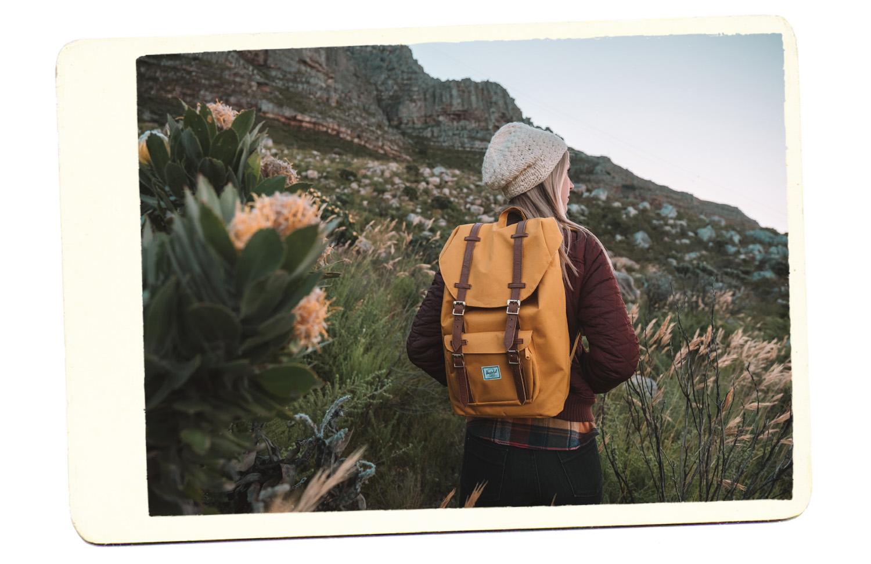 blonde travel backpack