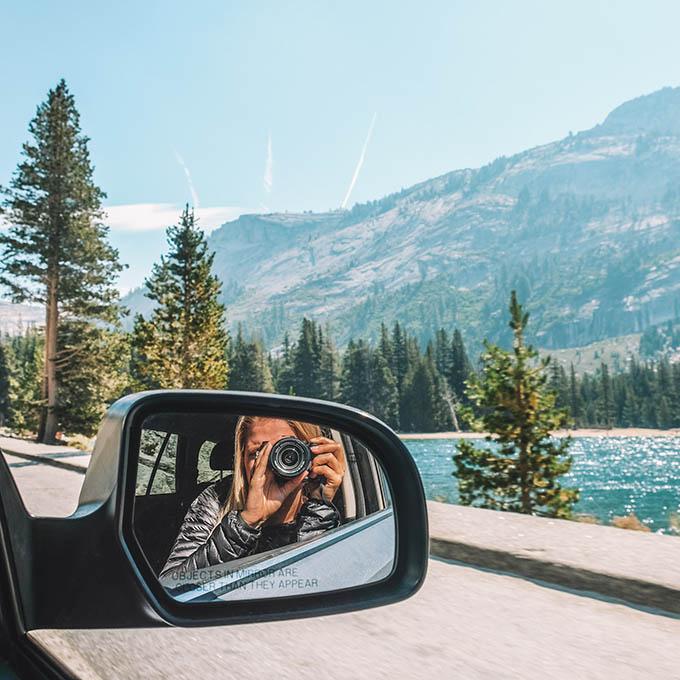 driving into yosemite