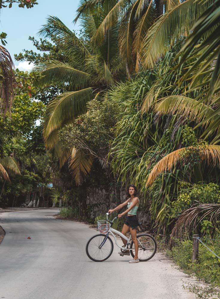 Cycling down the Tulum beach strip