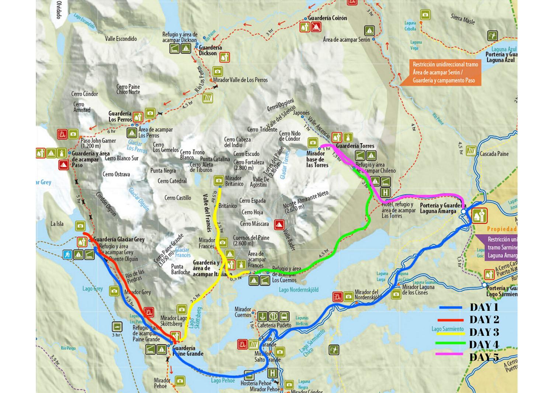 Exemple de carte d'itinéraire Torres del Paine Chili Randonnée