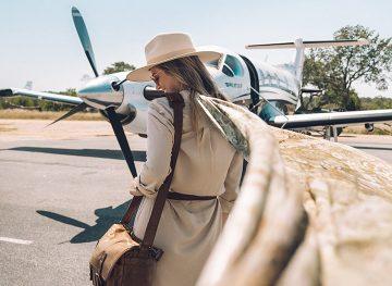 blonde traveling airplane