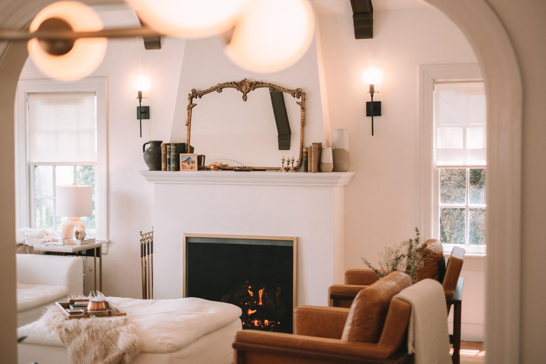 modern vintage fireplace california house