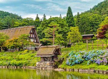 Beautiful Traditional Folk Village Scene with Historic Cottage Takone Japan